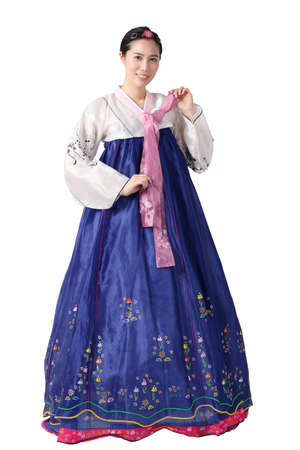 A beautiful Asian woman wearing hanbok is the national dress of Korea. White background. isolated. Clipping path