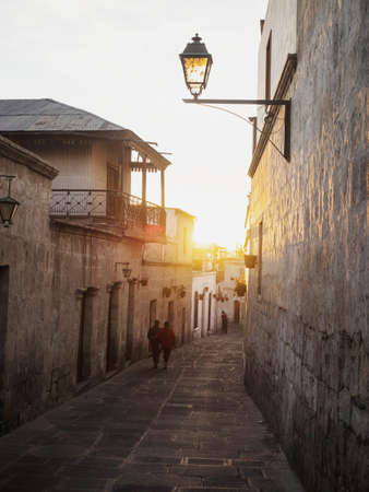 Picturesque street Calle Los Cristales in Neighborhood Barrio San Lazaro in historic center of Arequipa Peru