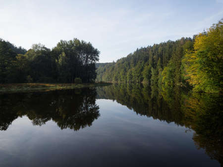 Panoramic view of river Saale Thuringian Highlands Slate Mountains at Schloss Burgk castle Saale Orla Kreis Thuringia