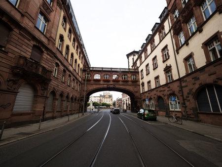 Enclosed skyway skybridge skywalk footbridge connects historical buildings in Bethmannstrasse Frankfurt am Main Germany