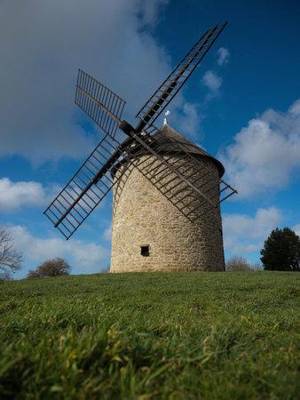 Old rustic historic windmill on a hill Mont Dol moulin Dol de Bretagne Saint Malo Ille et Vilaine Brittany France