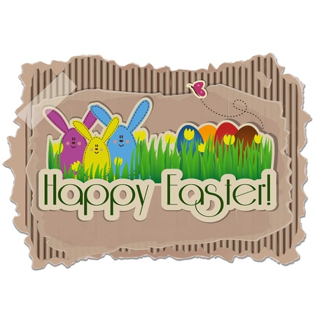 Sweet Easter Background on cardboard with rabbits, eggs, butterfly and yellow tulips Vector