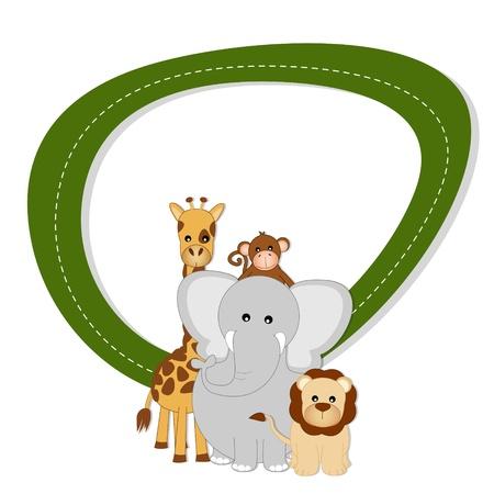 Savannah baby animals - lion, giraffe, elephant and monkey