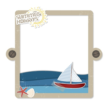 Beach scrapbooking label  A nice frame with scrapbook elements such as boat, sea, shell and starfish  Vector