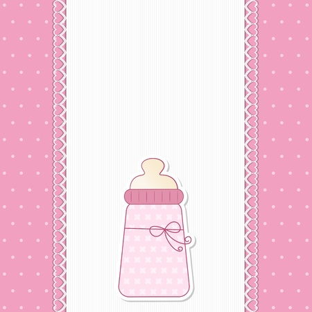 Baby Pink background  - A tender background for newborn announcement or baby shower invitation with a copy space in white cotton fabric  Vector