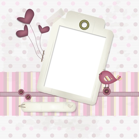 newborn baby girl: Baby Scrapbook Background   A decorative frame with a little bird on a button, balloons and a pink ribbon  A soft scrapbook background with circles a copy space to insert text and photo