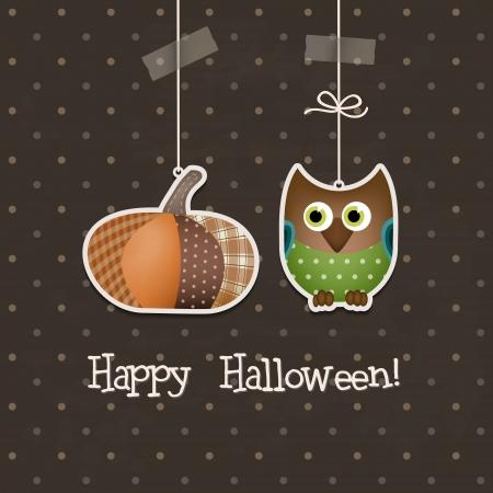 halloween party: Happy Halloween Backgroun Twee grappige Halloween elementen opvallen in een bruine achtergrond