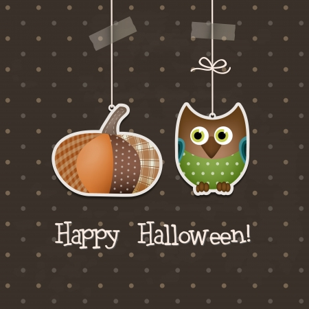 Happy Halloween Backgroun  Two funny Halloween elements stand out in a brown background