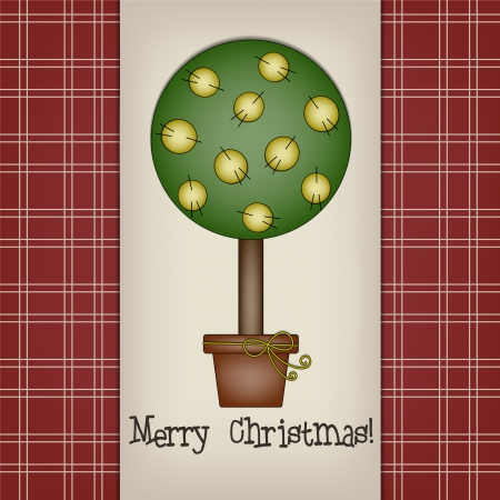 Christmas Tree with Fabric Balls - Cotton balls in a Christmas tree in rustic style to use for greeting cards or invitations or simply as background  Vector
