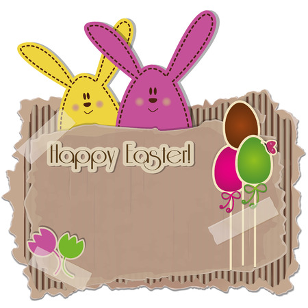 Easter Background - A cardboard with rabbits, eggs and tulips   Vector