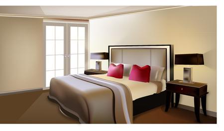 茶色のベッドの部屋  イラスト・ベクター素材