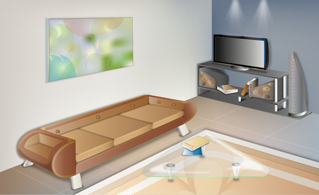 modern living room: Quiey Living Room Illustration