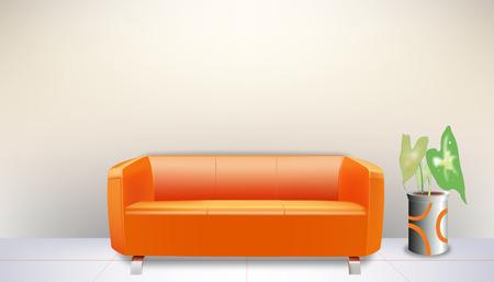 オレンジ mo ソファ  イラスト・ベクター素材