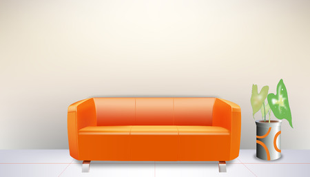 Orange mo sofa Vector