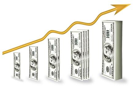 grafico vendite: Investimenti finanziari per massimizzare il profitto. E le potenziali fonti di fondi. Vettoriali