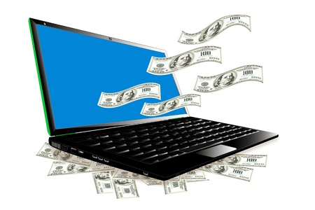money online: Laptop make money online Illustration