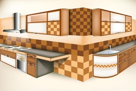 Exci kitchen room modern life style Illustration