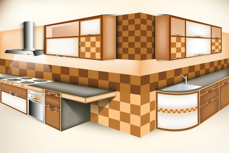 Exci kitchen room modern life style Vector
