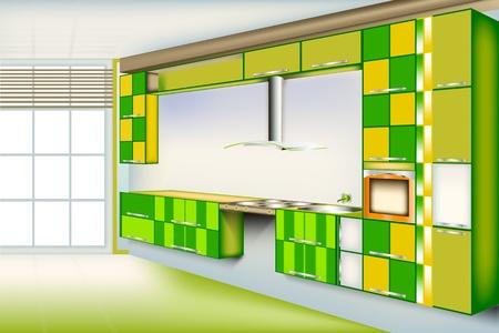 armarios: Sala de cocina Vivid...Color verde con un cuadrado cortado de colores. Proporcionar un �nico y privacidad en el hogar. Vectores