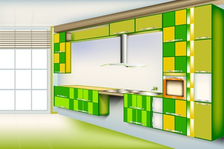 Vivid kitchen room...Green color with a square cut of colors. Provide unique and Privacy in the home. Stock Vector - 9720202