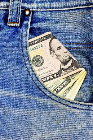 Us dollar in the jeans pocket Stock Photo - 10190563