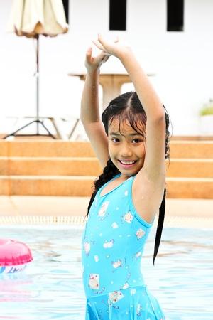 Girl have fun in the pool  photo