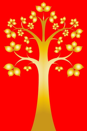 Sri maha bodhi tree ( Thai art ) Illustration