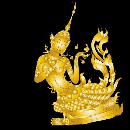 Kinnaree art ( Lai Thai ) isolated on black