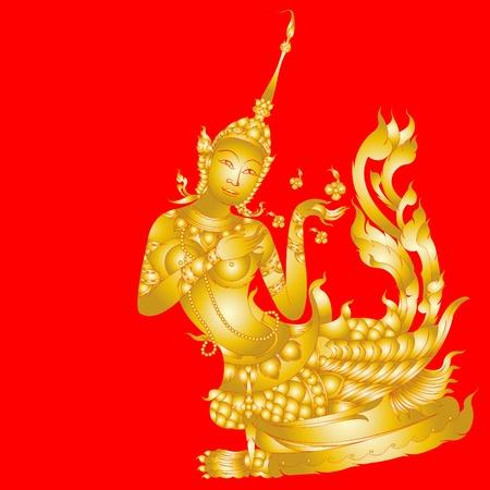 art painting: Kinnaree art ( Lai Thai ) isolated on red background