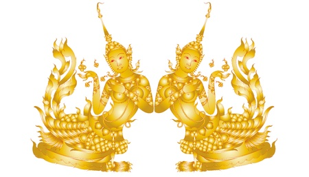 Kinnaree art pattern isolated on white background Illustration