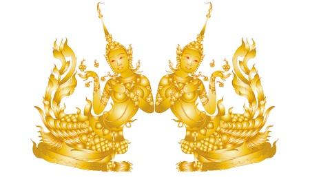 Wzór sztuki Kinnaree samodzielnie na białym tle