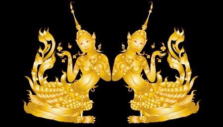 Kinnaree Kunst Muster auf schwarzem isoliert