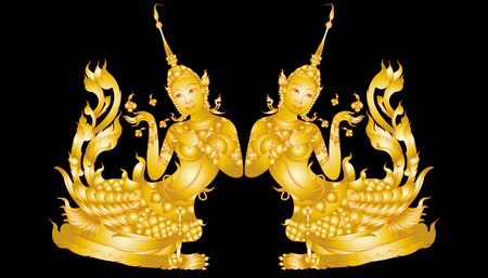 Teste padrão da arte Kinnaree isolado no preto