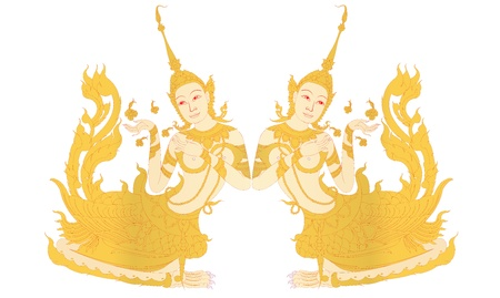 Kinnaree kobieta ptak z ludzką głową na białym