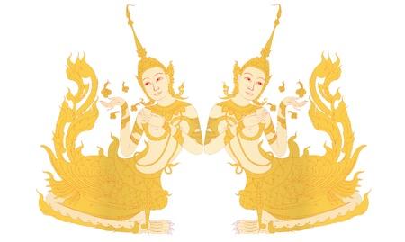 Kinnaree Weibchen mit einem menschlichen Kopf auf weiß Illustration