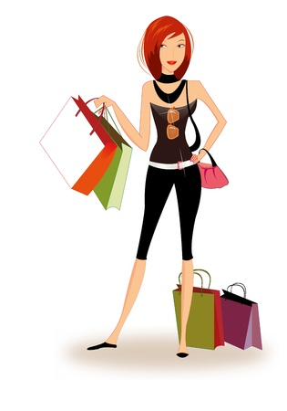 Pretty girl shopping Illustration