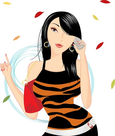 Pretty girl talking on mobile phone on isolated Illustration