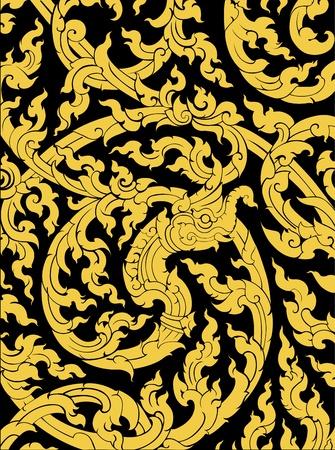 padrão tailandês da arte do estilo antigo templo parede