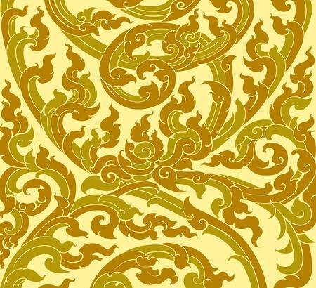 タイ芸術のカラフルな木の葉パターン古いスタイル