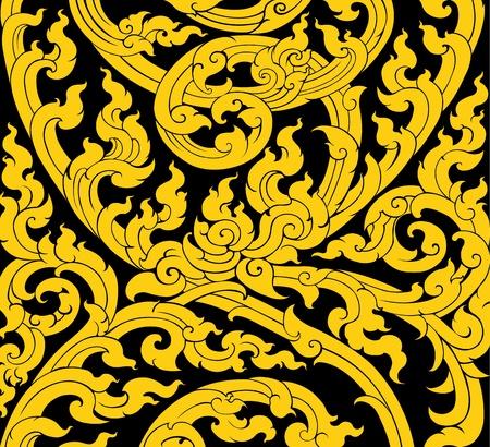 Thai-Kunst-Baum-Blätter-Muster im alten Stil Illustration