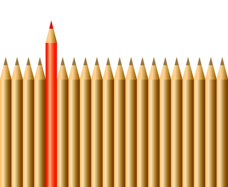 Ołówki jeden czerwony ołówek