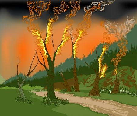 Saisonale Waldbrände und Waldzerstörung Illustration