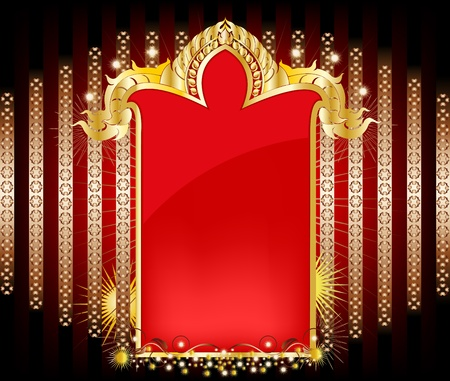 エレガントなゴールド パターン タイ芸術スタイル  イラスト・ベクター素材