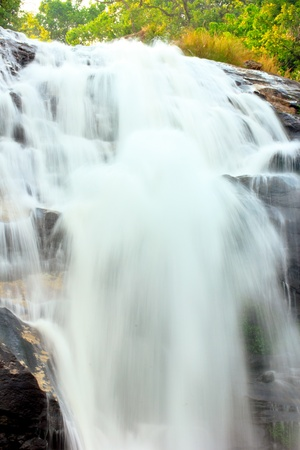 steep cliff: Beautiful landscape of waterfalls  On a steep cliff Stock Photo