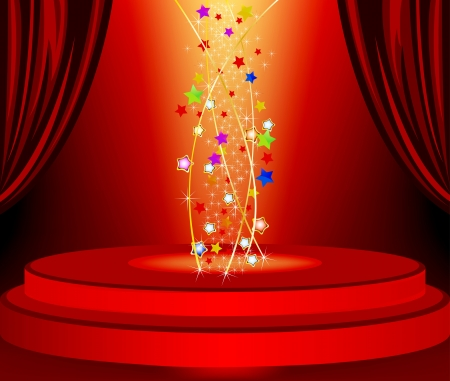 flashy: Red curtains and red marquee in the background bright with stars Illustration
