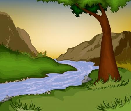 Natureza background.River na floresta Ilustração