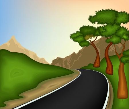 道路と自然の背景  イラスト・ベクター素材