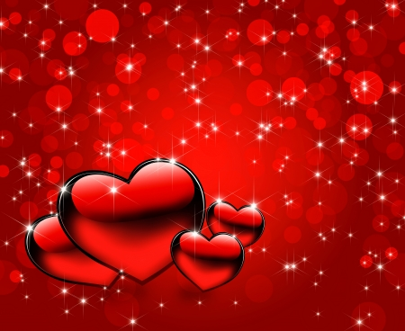 Beautiful red hearts background photo