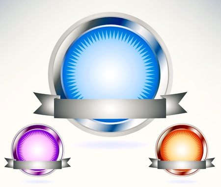 Shiny blue,purple,orange seal with banner Vector