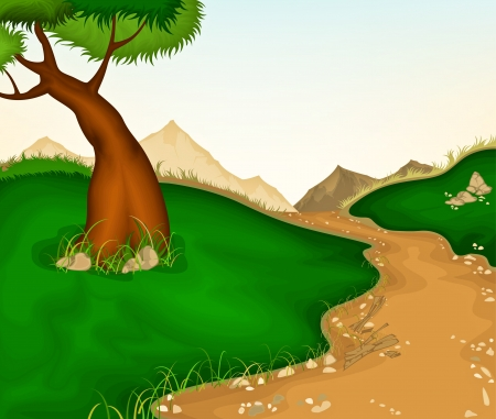 Landscapes  Trees and country roads Illustration